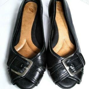 Nurture by Lamaze Sz 9.5 Black Leather Wedge Shoes